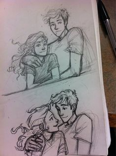 Percabeth doodles by Burdge.<3<3<3  I just really love the way she draws them. i mean their faces asfdsddj