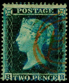 Sg27, 2d blue plate 5, LC16, FINE used. Cat £450. RED POSTMARK. BB