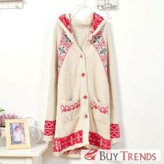 New Arrival Women's Floral Single Breasted Sweater Coat on BuyTrends.com, only price $48.75