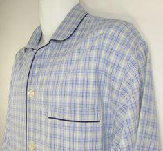 Men Brooks Brothers Pajama Shirt Top Button Front 100% Cotton Plaid Sz XL EUC