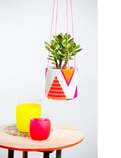 embroidered hanging planter/succulent. A little bit of indoor summer all year round. Design by Peaches and Keen.