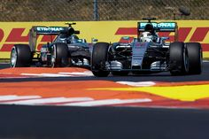 Pole for Lewis Hamilton, 1/2 sec back is team mate Nico Rosberg.