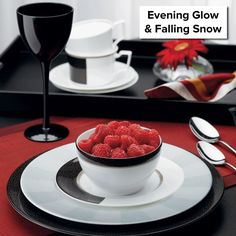 Evening Glow & Falling Snow are now retired, and remaining items are 50% off! http://noritakechina.com/evening-glow-falling-snow.html #noritake #tablescapes #sale #blackandwhite