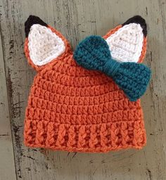 Gender+neutral,+Newborn+Crochet+Fox+hat+with+or+without+bow,+baby+boy,+baby+girl,+Fox,+Woodland+Animal,+Photo+Prop+by+SweetTandHoneyBees+on+Etsy