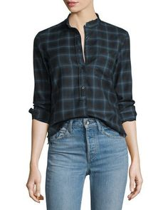 HELMUT LANG SHRUNKEN PLAID PULLOVER SHIRT, NAVY. #helmutlang #cloth #