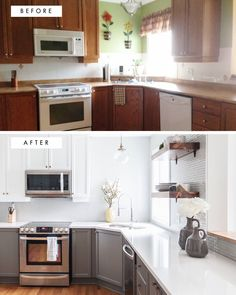 Before and after kitchen remodel by Leclair Decor.