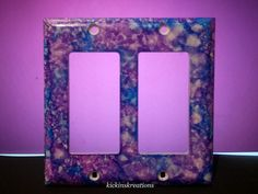 Blue and Purple Double Rocker Arm Switch Plate by kickinskreations, $10.00