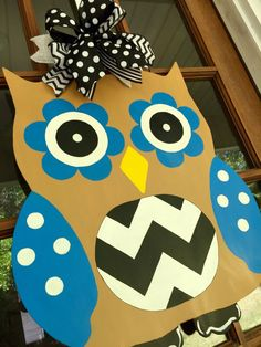 Owl Door Hanger / Hand Painted Wooden Owl by SouthernWhimsyStyle