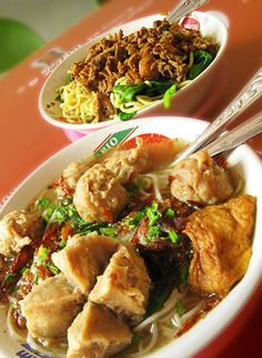 Bakso is the Indonesian version of a meatball.  It's usually made from sliced beef, but can also take the form of chicken, fish or shrimp.