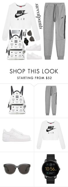 """""""Sweatpants"""" by orrinn ❤ liked on Polyvore featuring MCM, NIKE, Gentle Monster and FOSSIL"""