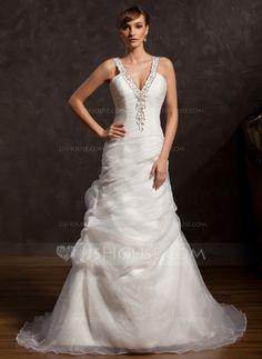 A-Line/Princess V-neck Court Train Organza Wedding Dress With Ruffle Beadwork (002015174) - JJsHouse