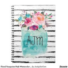 Floral Turquoise Pink Watercolor Bouquet Spiral Notebook April 22 2017 #spring #junkydotcom