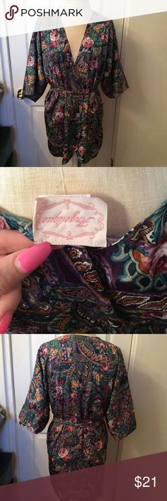 """Vintage floral robe. Angelique. Medium.  100% polyester.   32"""" in length.  No flaws!  My mannequin is a 36"""" bust, 28"""" waist. angelique Intimates & Sleepwear Robes"""