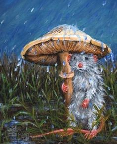 mouse and mushroom painting