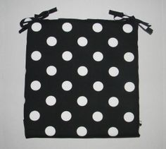 Indoor / Outdoor Foam Universal Chair Seat Cushion with Ties - Black & White Polka Dot - Choose Size by PillowsCushionsOhMy, $22.96 Seat Cushions, Indoor Outdoor, Ties, Polka Dots, Community, Black And White, Chair, Unique Jewelry, Handmade Gifts