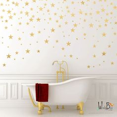 Gold star decals set of 129
