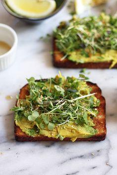 avocado toasts with micro greens + sesame