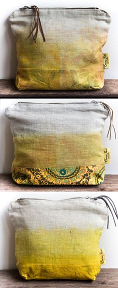 Items similar to Eco bags- Makeup Bag/ Purse- Ombre Yellow Natural Dye on Etsy Home Decor Accessories, Turmeric, Purses And Bags, June, Reusable Tote Bags, House Design, Colours, Throw Pillows, How To Make