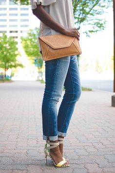 spring accessories -- love the perforated clutch!
