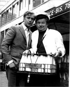 Benny Hill (January 21, 1924- April 20, 1992), with Michael Caine