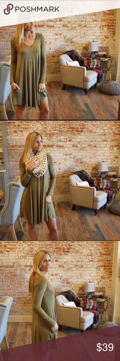 """Olive long sleeve V neck dress with pockets Modeling size small, 95% rayon 5% spandex, bust laying flat: S 18"""" M 19"""" L 20"""" length S 34"""" M 35"""" L 36"""". Add to bundle to save when purchasing.  CH100211118 Dresses Long Sleeve"""