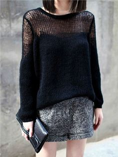 Black Contrast Sheer Panels Long Sleeve Loose Sweater - Sheinside.com