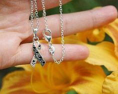 Charm Necklace - .925 Sterling Silver Chain - Animal Rescue Ribbon Pendant - Paw Print Awareness Ribbon Pet Dog Cat Lover Gift