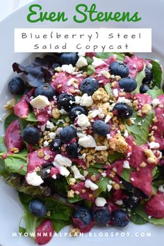 Even Steven's Blue(berry) Steel Salad Copycat recipe! The best salad you can have! Topped with fresh blueberries, feta, and homemade granola, you cannot go wrong! So easy to make, and even better to eat!! You'll love this one for sure!