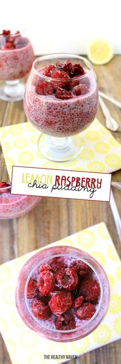 This Lemon Raspberry Chia Pudding makes a refreshing and healthy snack recipe made with fresh or frozen berries and sweetened with just a touch of honey! It also is a great dessert for one or for guests! (recipes for snacks chia seeds) Great Desserts, Delicious Desserts, Yummy Food, Whole Food Recipes, Snack Recipes, Dessert Recipes, Smoothie Recipes, Cleanse Recipes, Donut Recipes