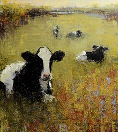 Rebecca Kinkead 'Holsteins, Green Field'. Oil and wax. Mixed Media.