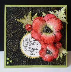 Handmade card by DJ Rants using a sentiment from the Wonderfully Made stamp set by Verve. Flower Cards, Paper Flowers, Poppy Cards, Heartfelt Creations Cards, Lord Is My Strength, Simple Blog, Joy Of The Lord, Felt Hearts, Homemade Cards