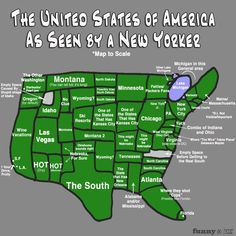 Funny pictures about The USA as seen by a New Yorker. Oh, and cool pics about The USA as seen by a New Yorker. Also, The USA as seen by a New Yorker. United States Map, 50 States, Thing 1, Nyc, I Smile, Just For Laughs, Nebraska, Laugh Out Loud, The Funny