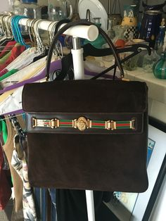 0b82d786c8cf Uber Rare early 1970s Vintage Gucci KELLY bag with red green enamel band Vintage  Gucci