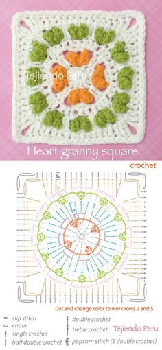 Crochet: heart granny square! Diagram, pattern or chart :)