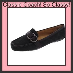 "PRICE DROP!! Black COACH Avril Flat. New in Box. Coach style ""Avril"" Loafer. New in box. This seasons style. Black jacquard C style with gorgeous double ring engraved ""coach"" on top. Guaranteed authentic. Paid $165. They have never been worn. Coach leather trim and luxurious Coach leather interior. So sad they don't fit! :( Only reasonable offers please. New with box. Coach Shoes"