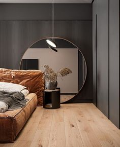 Stunning Modern Home Designs Under 70 Sqm Four small apartments under 70 square metres. Featuring bright decor accents and gypsum panels for zoning, and clever furniture layouts for small spaces. Bedroom Bed Design, Modern Bedroom Design, Modern House Design, Home Bedroom, Bedroom Furniture, Modern Mirror Design, Nordic Bedroom, Modern Luxury Bedroom, Bedroom Decor