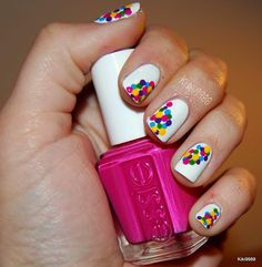 cute idea for nails and it doesn't even look that hard...Hurray for polka dots