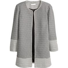 H&M+ Patterned coat ($61) ❤ liked on Polyvore featuring outerwear, coats, plus size, jackets, h&m coats, print coat, womens plus size coats, plus size coats and black coat