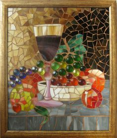 SALE 15% Stained glass mosaic Still life. by MyVitraz on Etsy