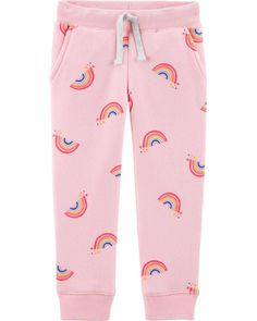 Toddler Girl Logo Fleece Rainbow Pants from OshKosh B'gosh. Shop clothing & accessories from a trusted name in kids, toddlers, and baby clothes. Baby Girl Leggings, Baby Girl Pants, Girls Pants, Toddler Leggings, Oshkosh Baby, Rainbow Outfit, Fleece Pants, Fleece Fabric, Girl Bottoms