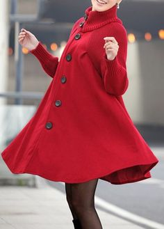 Button Closure Long Sleeve Red Swing Coat on sale only US$38.33 now, buy cheap Button Closure Long Sleeve Red Swing Coat at lulugal.com