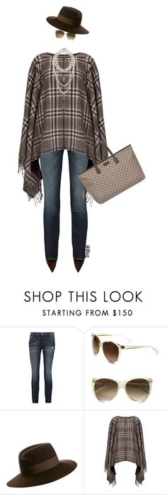 """""""Clutching My Pearls"""" by marion-fashionista-diva-miller ❤ liked on Polyvore featuring Current/Elliott, Tory Burch, Maison Michel, Rumour London, Gucci, women's clothing, women's fashion, women, female and woman"""