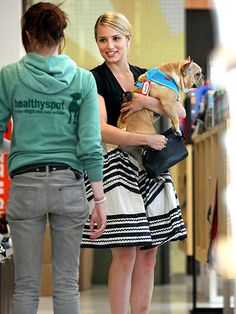 Dianna Agron from Glee and her Frenchie