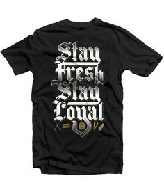 """Read between the lines. This should apply inside and outside of your shop. Weather you are a barber, a stylist, or a client """"Stay Fresh Stay Loyal"""" Stache Barbers 100% cotton men's black Tee"""