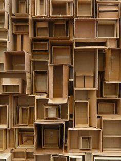 Cardboard Boxes ~ Texture and Pattern Instalation Art, Bokashi, Cardboard Art, Cardboard Boxes, Stage Design, Art Plastique, Box Art, Textures Patterns, Decoration