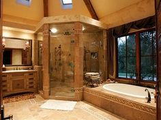 huge corner shower and a soaker tub!