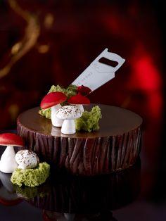 Bûche de Noël á la Campagne by Pierre Hermé. Check out that beautiful, glossy chocolate ganache! Desserts Français, French Desserts, Plated Desserts, Death By Chocolate, Love Chocolate, Chocolate Ganache, Beautiful Cakes, Amazing Cakes, Christmas Deserts