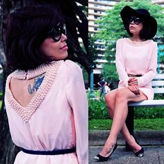 Oasap Pink Pearl Dress