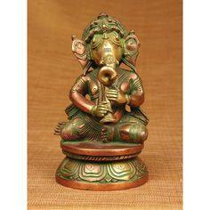 Handmade Brass Ganesha Playing Horn Sculpture (India) (Ganesha Playing Horn), Gold