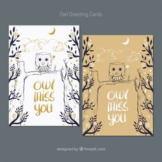 Owl greeting cards in hand-drawn style Free Vector